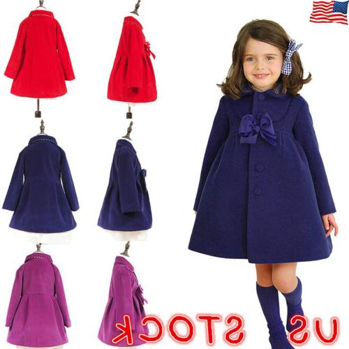 kids girls long princess trench coats winter