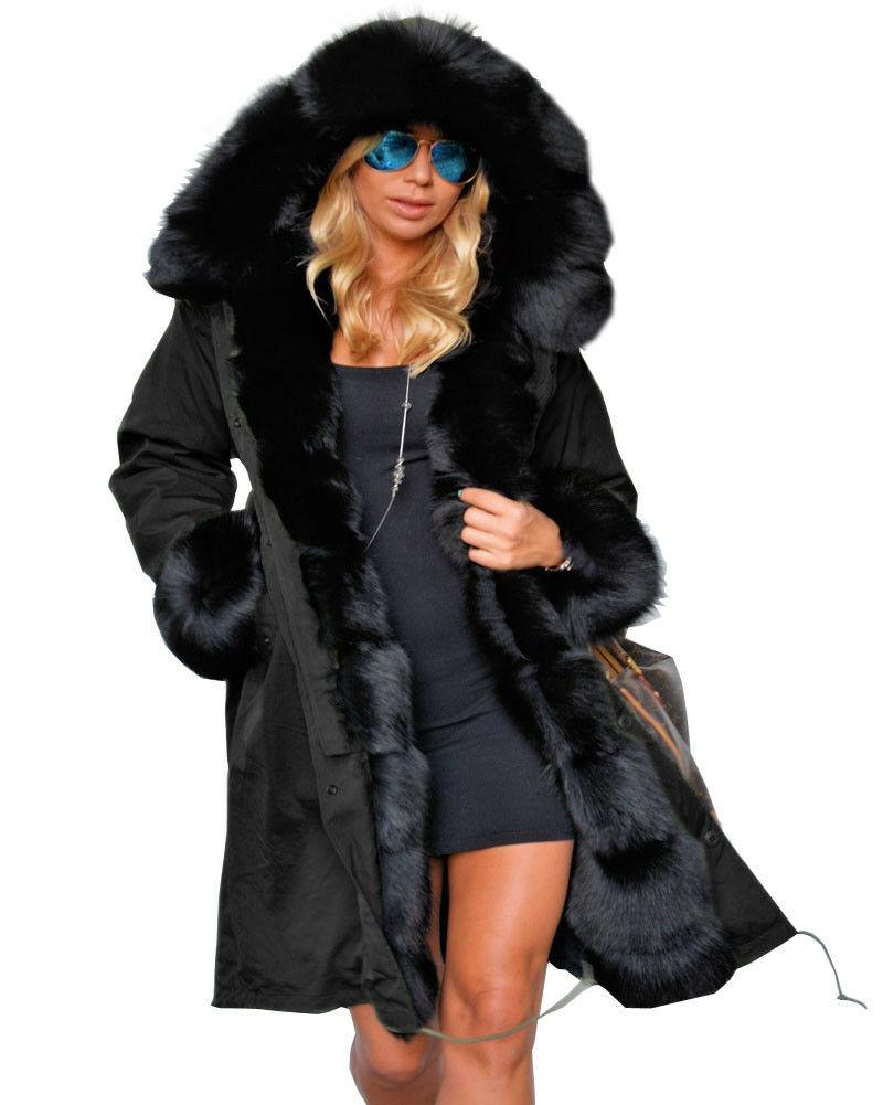Ladies Fur Coat Long Parka