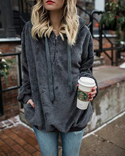 Ladies Oversized Hoodie Sweatshirt Coats Dark Gray