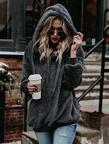 Ladies Winter Oversized Fleece Hoodie Loose Coats Dark Gray