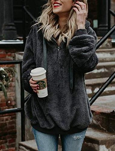 Ladies Winter Hoodie Pullover Sweatshirt Coats Gray