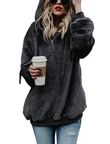 Ladies Hoodie Loose Coats Dark