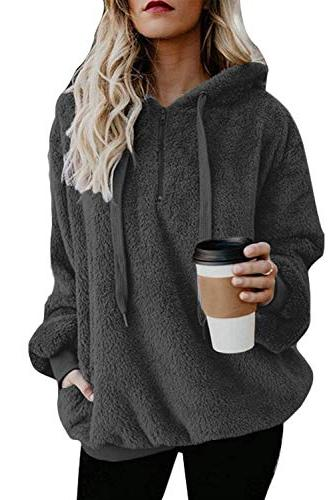 ladies winter oversized fleece hoodie loose pullover