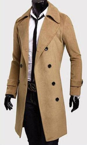 Men Breasted Trench Coat Jacket Solid