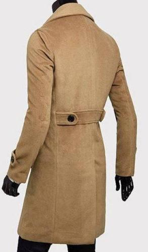 Men Double Breasted Coat Warm Jacket Solid