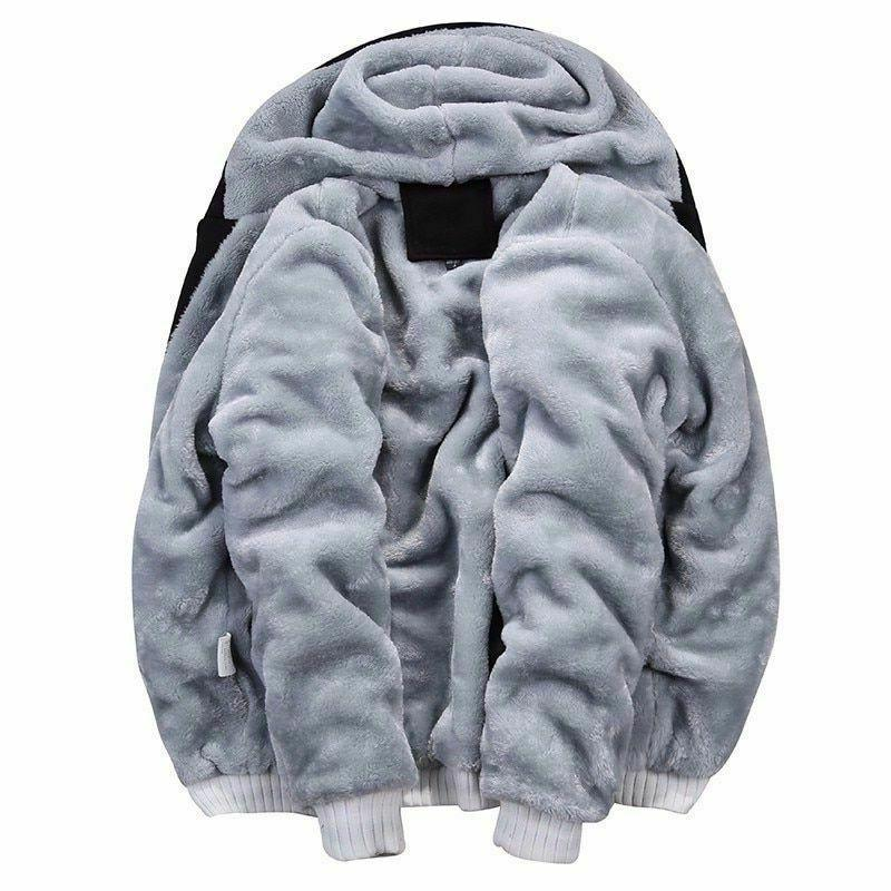 Men Winter Thick Warm Fleece Zipper Streetwear Sweatshirt Coat