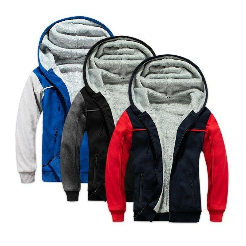 men hoodies winter thick warm fleece zipper
