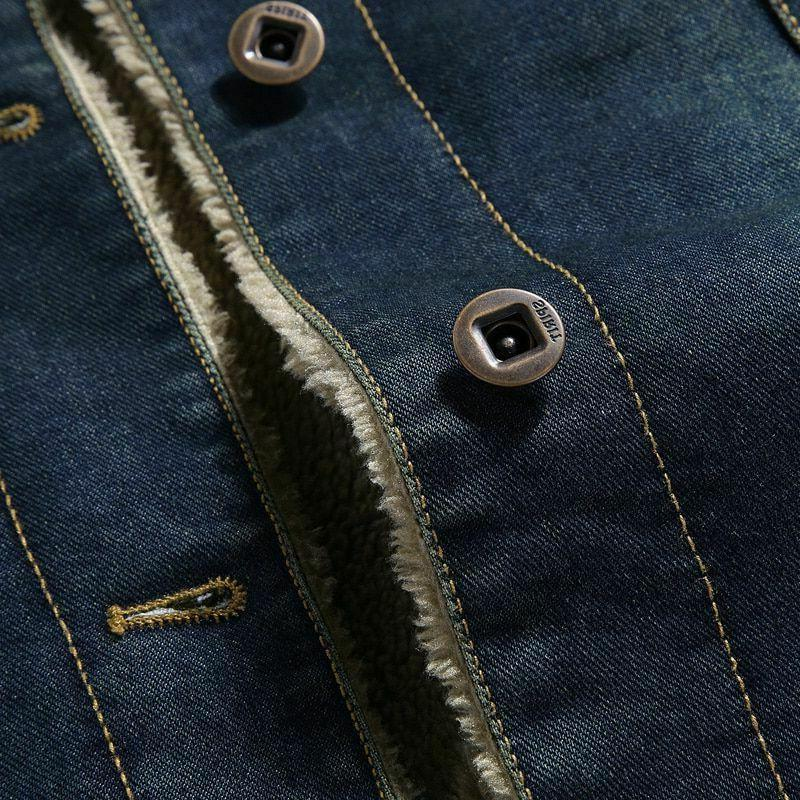 Men Warm Denim Solid Thick Wool Jeans Coats Clothing