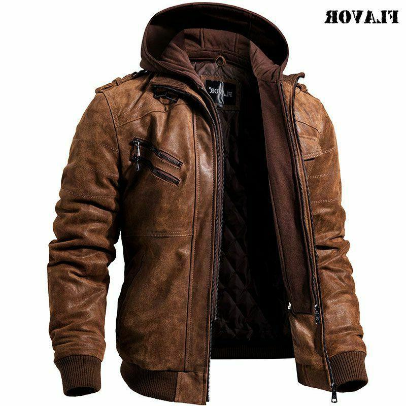 Men Motorcycle Removable Hood winter Genuine Leather Jackets