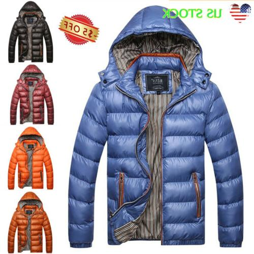men quilted padded puffer bubble hooded coat