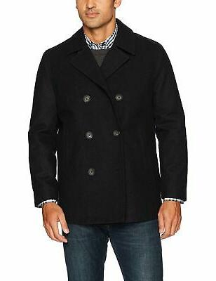 men s double breasted wool peacoat black