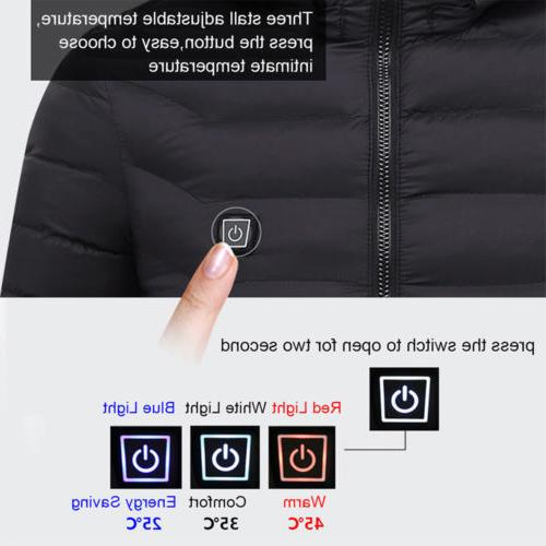 Men's Electric Battery Heated Hoodie Jacket Adjustable Temp