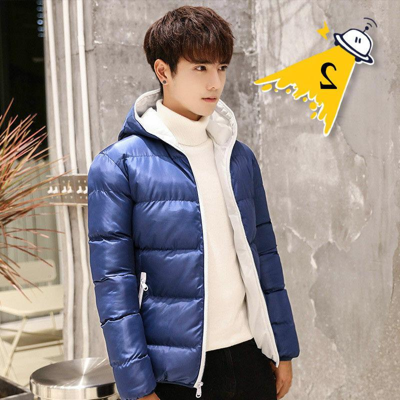 Men's Hooded Puffer Jacket Thick Padded Winter Warm Parka Outerwear Loose