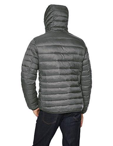Amazon Essentials Water-Resistant Hooded Puffer Jacket, Charcoal Heather, Small