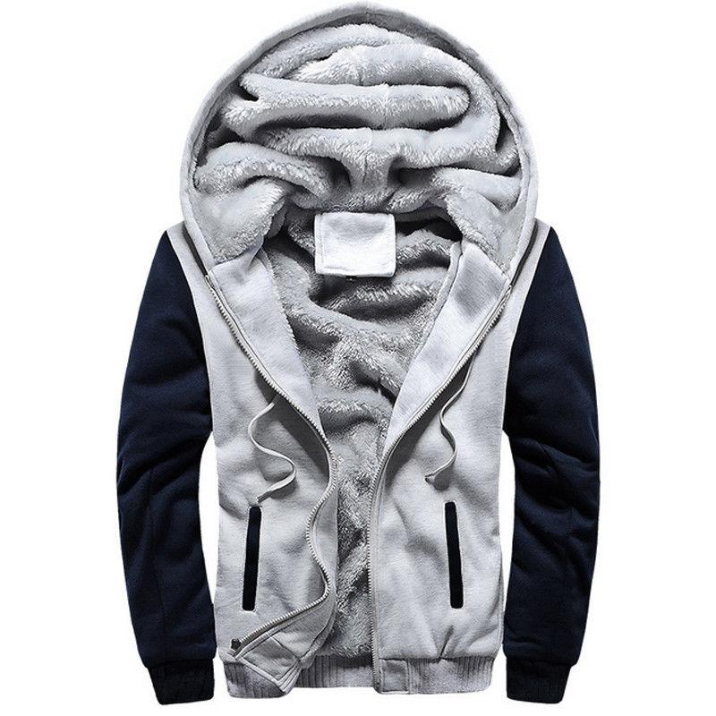 Mens Hoodie Zip Fur Lined Hooded Coat Outwear