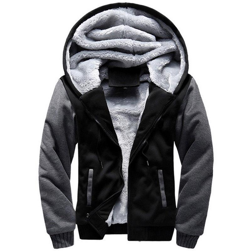 Mens Winter Warm Fur Lined Hooded Coat Outwear