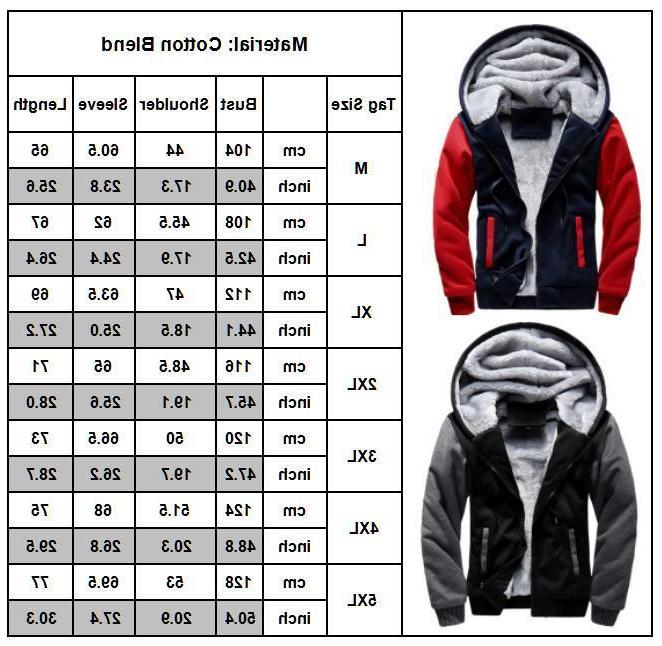 Mens Winter Warm Hoodie Zip Sweater Fur Lined Hooded Coat Outwear