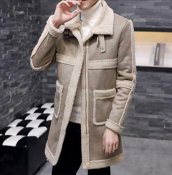 Men's Retro Lined Casual Coats Fleece Jackets Overcoat