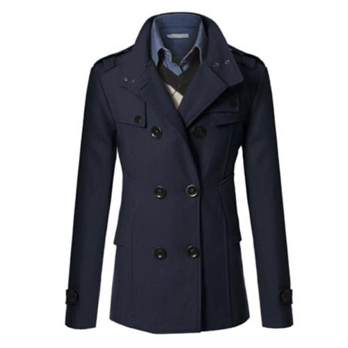 Men Breasted Trench Coat Winter Warm Outwear