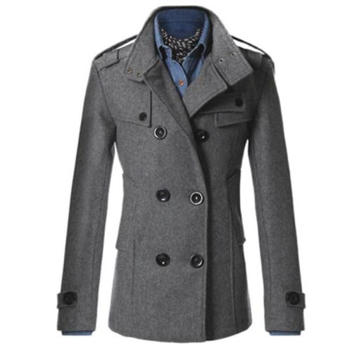 Men Long Trench Coat Outwear Overcoat
