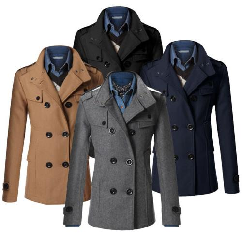 Men Trench Outwear Peacoat
