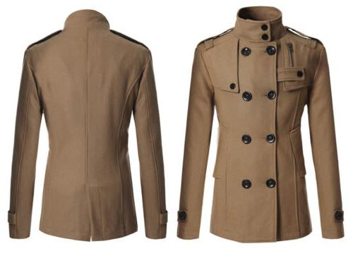 Men Double Long Trench Coat Warm Outwear