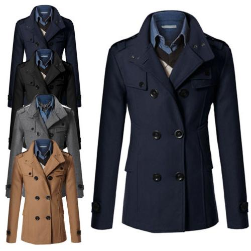 Men Double Breasted Long Trench Coat Winter Warm Outwear Jac