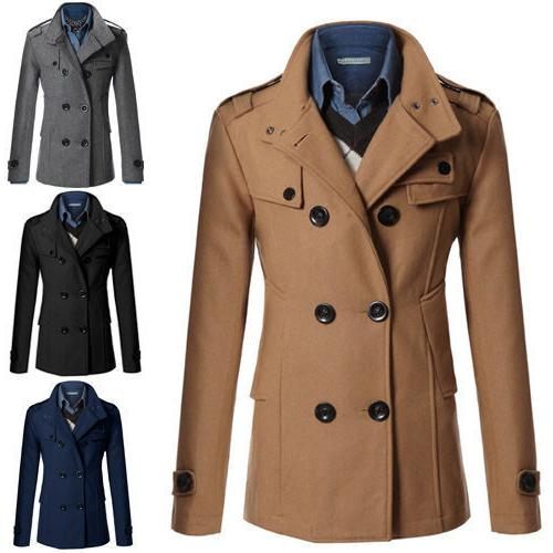 men s slim fit double breasted peacoat