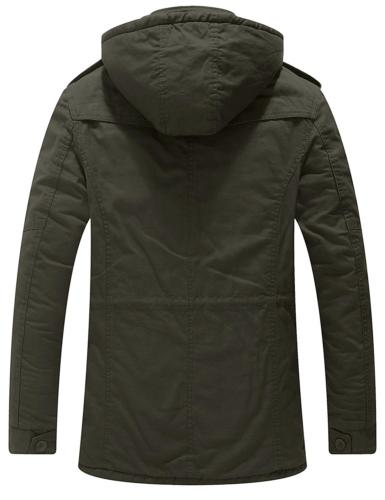 Wantdo Men's Winter Fold Over Collar Coat Removable Hood Army