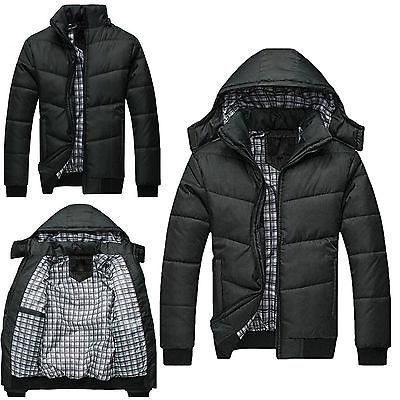 Mens Black Puffer Warmer Overcoat Padded Hooded