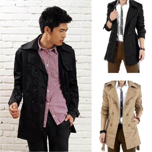 Men's Breasted Trench Coat Long Jacket