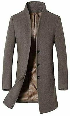 Men's Winter Stylish Wool Trench Coat Business Slim Fit Long