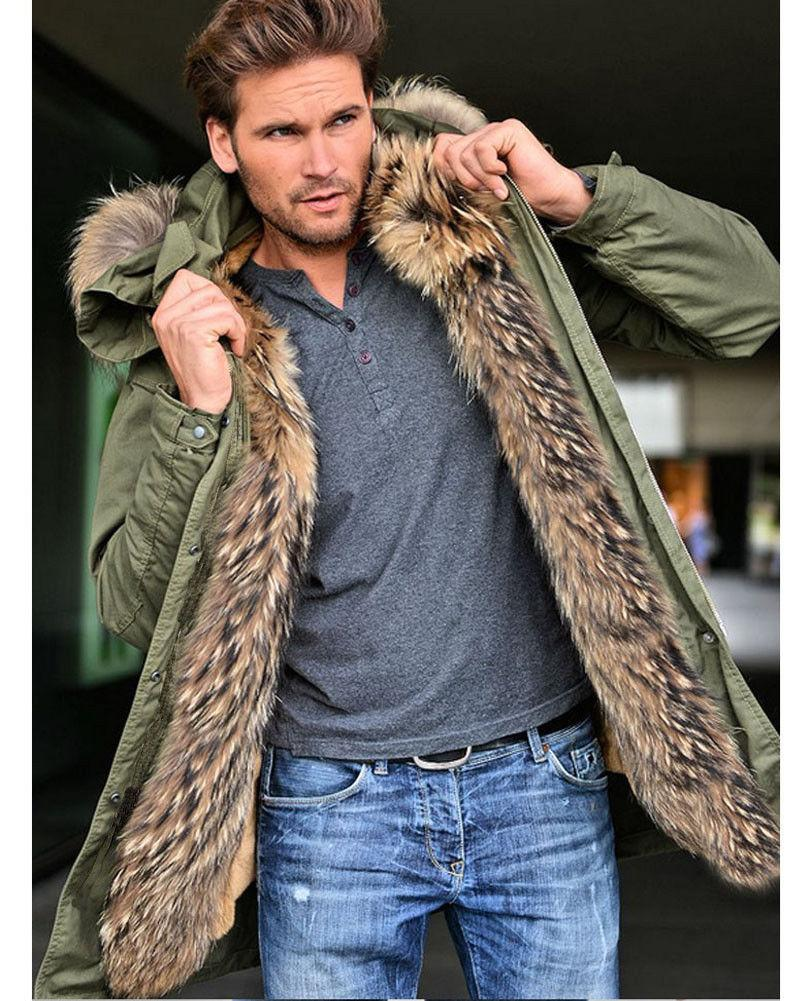 Roiii Thick Fur Trench Coat Long Parka Hooded