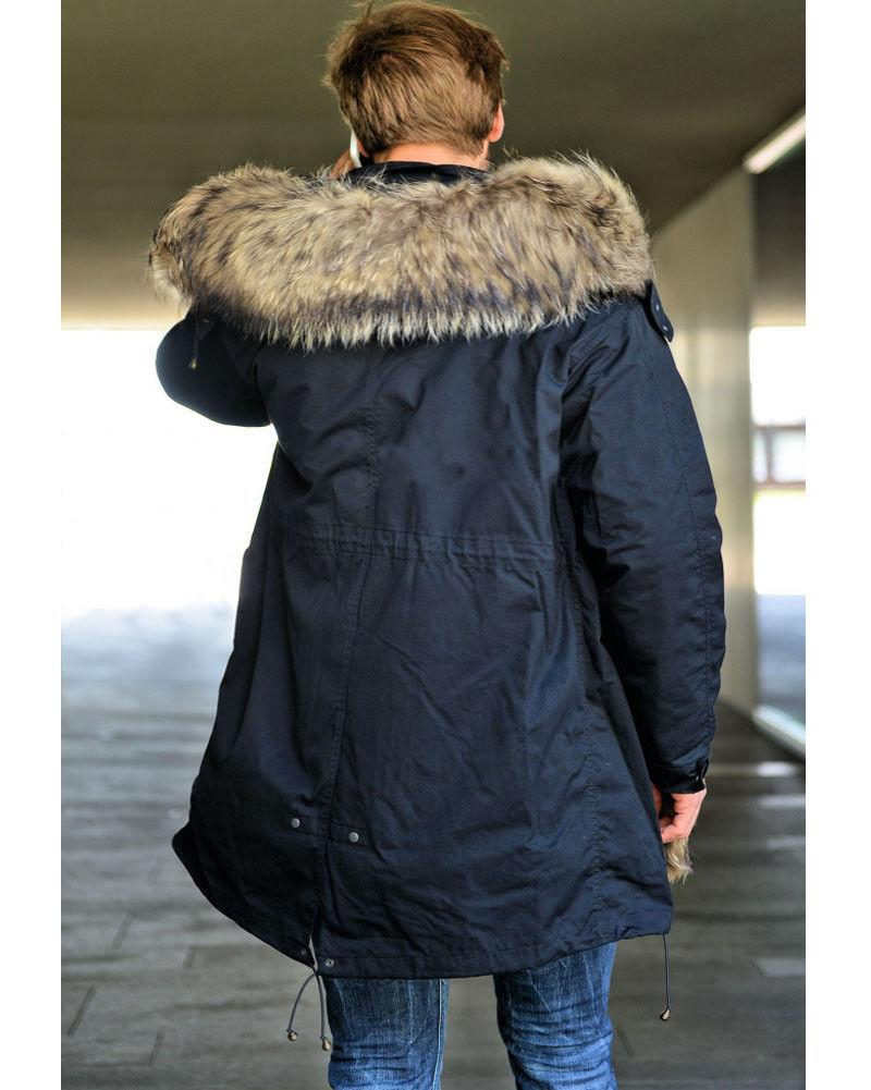 Roiii Winter Thick Faux Fur Trench Jacket Parka Hooded