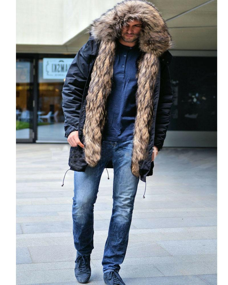 Roiii Men's Thick Faux Trench Long Jacket Parka Hooded