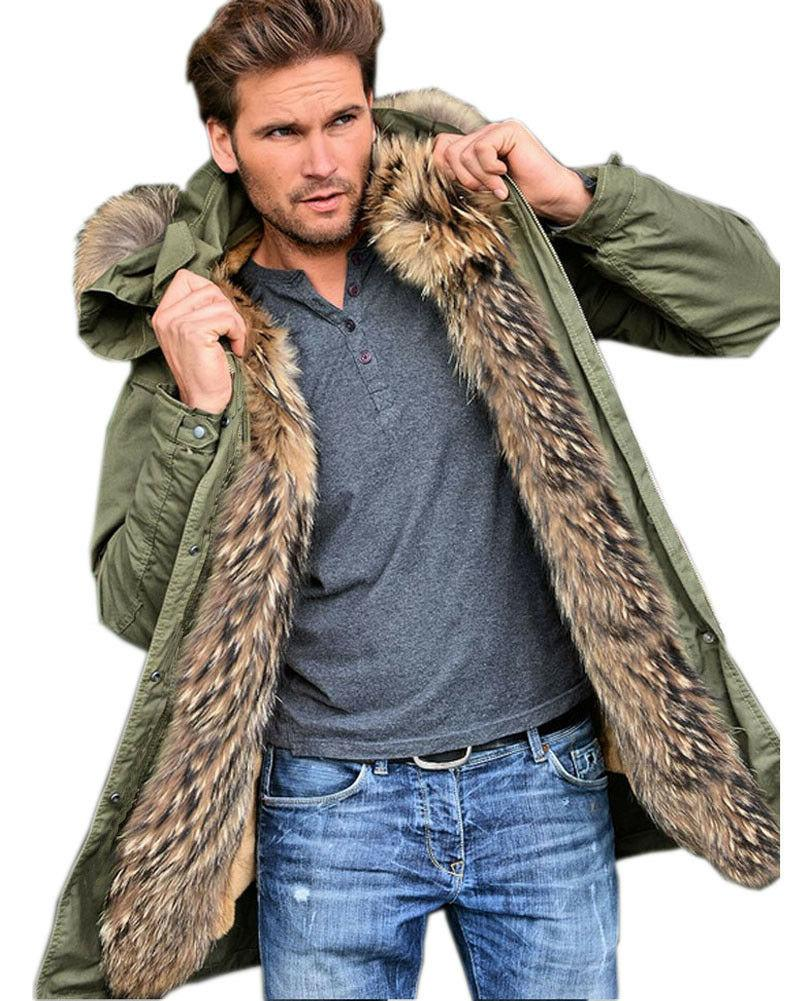 Roiii Thick Faux Fur Trench Parka Hooded