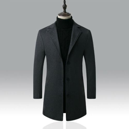 Men's Winter Trench Coat Casual Overcoat Long Suit