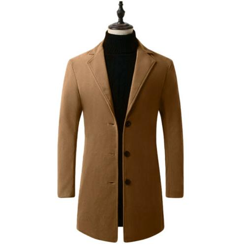 Mens Trench Coats Button Coat Jacket