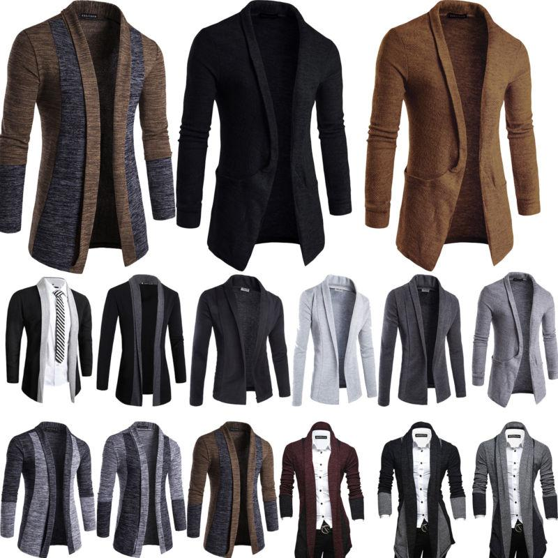Men Winter Casual Sweater Slim Long Sleeve Knit Cardigan Tre