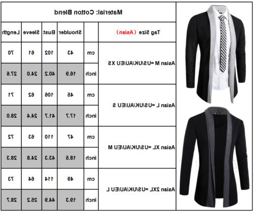 Men Winter Casual Slim Long Cardigan Coat Jacket Suit