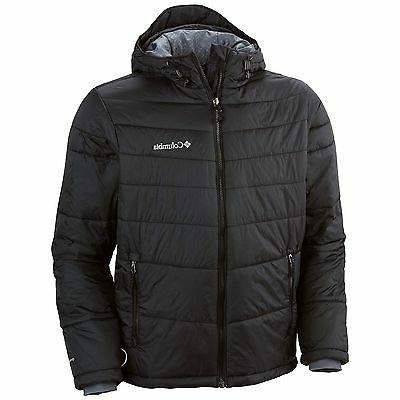 men winter hooded insulated omni heat jacket