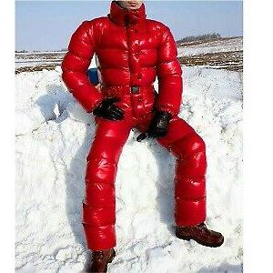 Men Winter Coat Fashion Down Jumpsuit Colorful