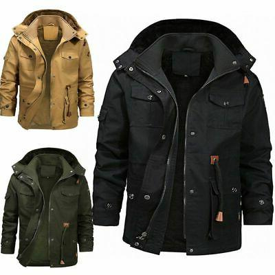 Men Winter Fur Lined Jacket Military Tops