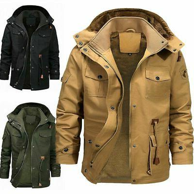 Men Fur Lined Hooded Cargo Military Tops