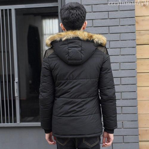 Men Winter Warm Thick Fur Hooded Lined Outerwear Parka