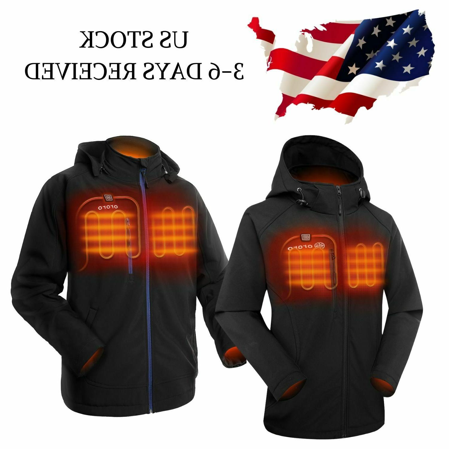 men women heated jacket with battery pack