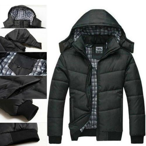 Mens Black Warmer Overcoat Outwear Hooded Down Winter