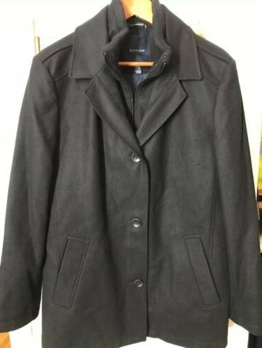 mens double brested wool peacoat black size