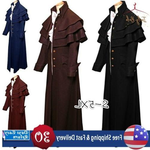 mens medieval steampunk frock coat retro gothic