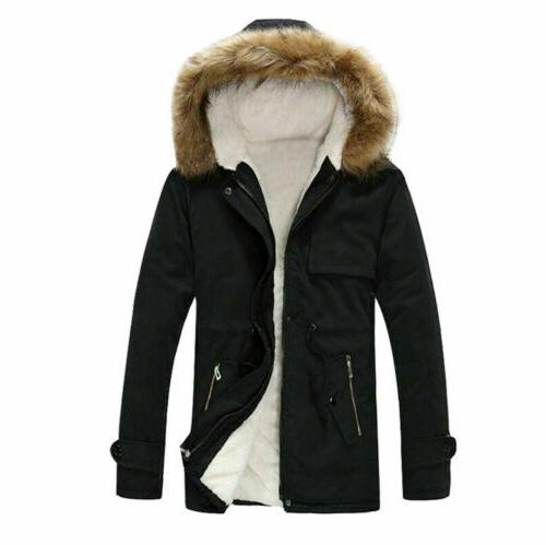 Mens Snow Hooded Jacket Military Outerwear Fur lined Parka